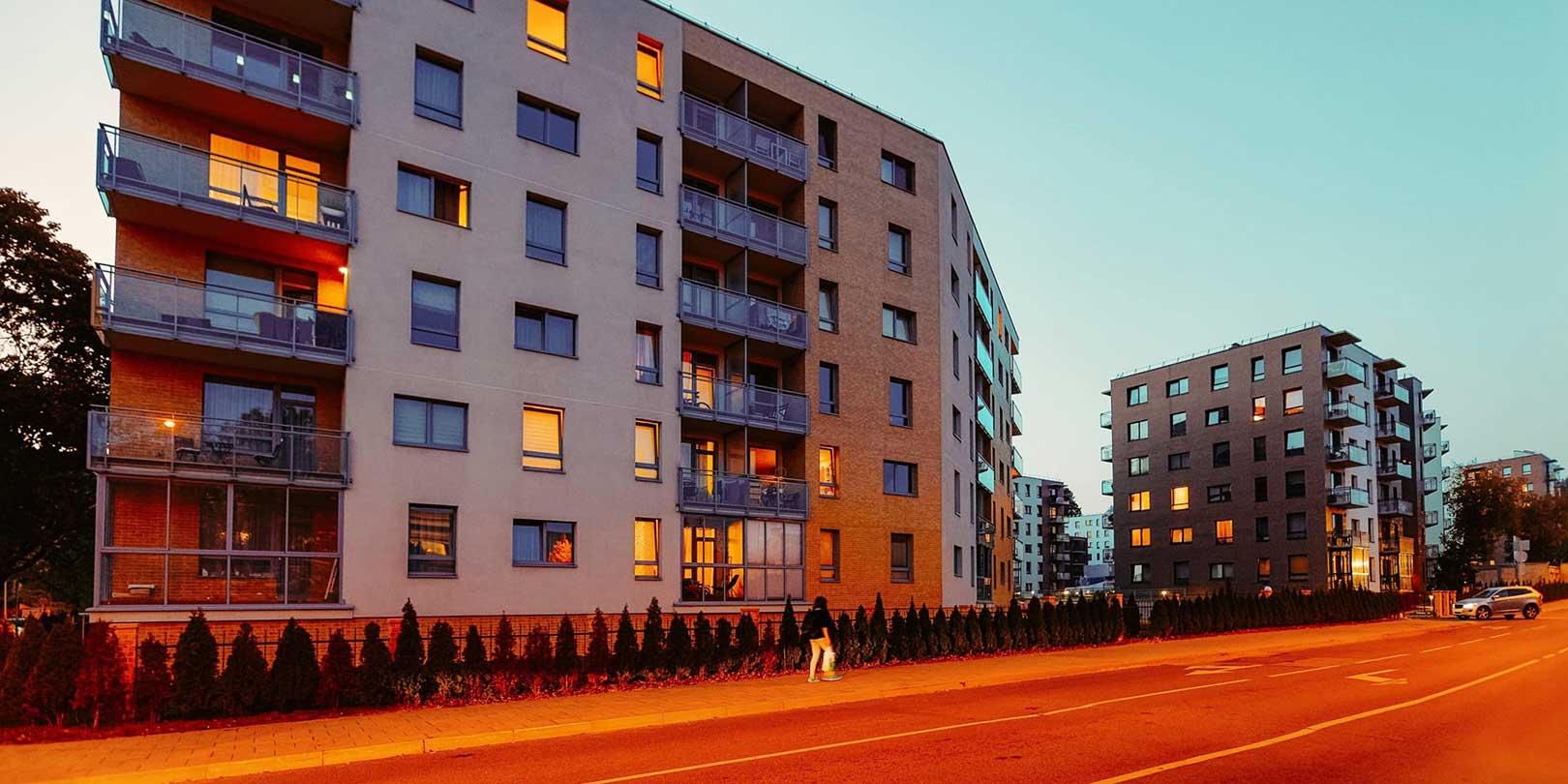Modern residential apartment buildings